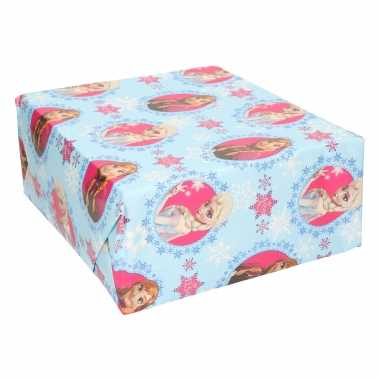 1x inpakpapier/cadeaupapier disney frozen blauw 200x70 cm op rol