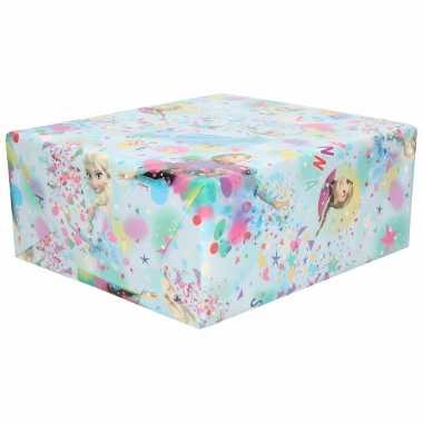 1x rollen inpakpapier/cadeaupapier disney frozen elsa en anna blauw 200x70 cm