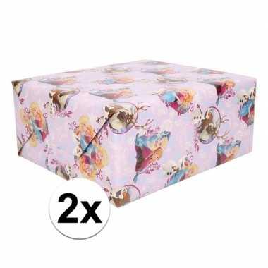 Disney 2x cadeau inpakpapier paars frozen 1 rol
