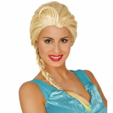 Disney damespruik blond met vlecht frozen