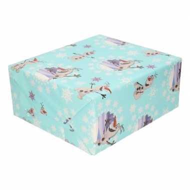 Inpakpapier/cadeaupapier disney frozen olaf 200 x 70 cm groen